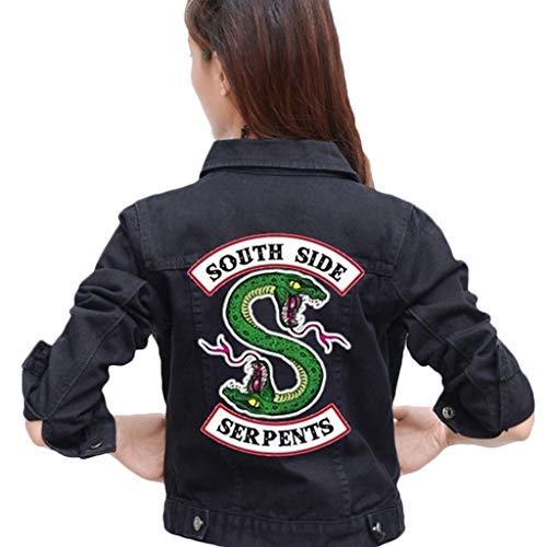 Ragazze Riverdale Southside Serpents Biker Gang in Pelle Nera /Giacca per Ragazze-3