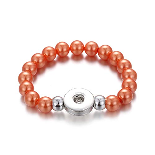 Awertaweyt Edelstein Perlen Armband Handmade Snap Button Bracelet 10Mm Imitation Pearls Beads Snap Bracelet Fit 18Mm Snap Buttons Jewelry Summer Beaded Bracelet 1 (David Yurman Ring Damen)