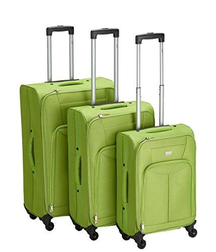 PURE Koffer-Set BASIC / Reisegepäck / Trolley klein-mittel-groß / Handgepäck / Weichgepäck / Reisekoffer / Superleicht / Vortasche / grün