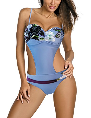 Marko Mandy M-423 women's one-piece swimsuit monokini removable straps floral - made in EU