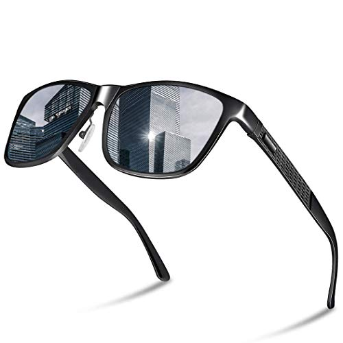 Glazata Sonnenbrille Herren Polarisiert Auto, UV400 Schutz und Al-Mg-Rahmen Brille für Golf Ski Angel alle Outdoor-Aktivitäten (Schwarz)