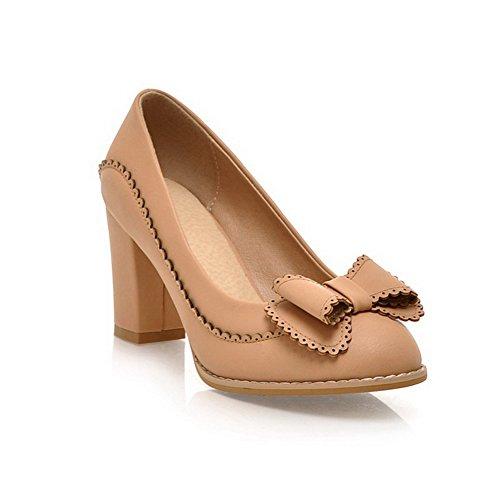 AllhqFashion Damen Ziehen Auf Rund Zehe Hoher Absatz Pu Pumps Schuhe Aprikosen Farbe