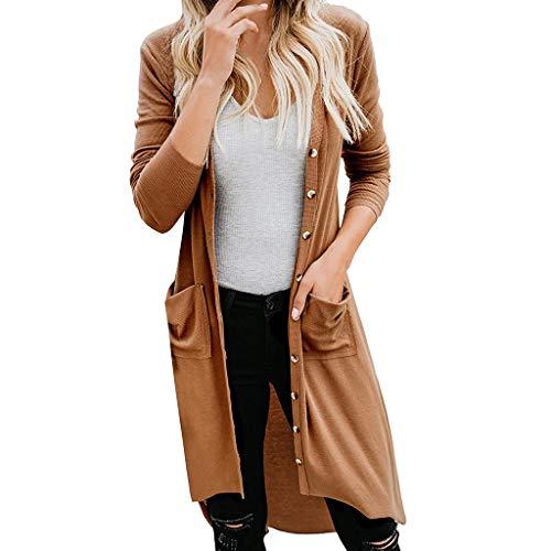 LOPILY Basic Cardigan Damen Lange Dünne Jacke Herbst Vokuhila Poncho Dehnbare Skinsuits Mantel mit Knopfleiste Einfarbige Langarm Umhang mit Taschen Cargigan für Sommer Sonnenschutz (Braun, 36)