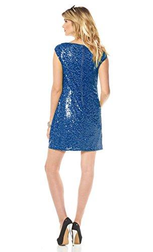 Marc New York Damen Kleid Pailletten Kleid Cocktail Kleid mit Wasserfallausschnitt blau (36) - 4