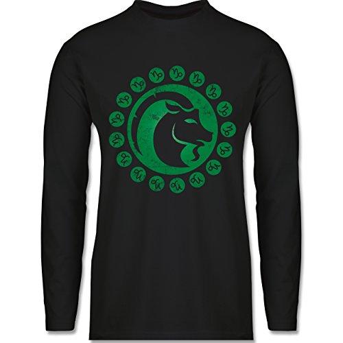 Shirtracer Symbole - Tierkreiszeichen Steinbock - Herren Langarmshirt Schwarz