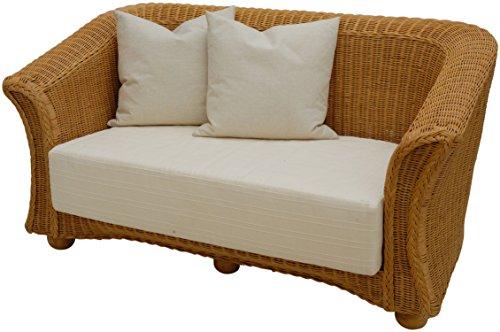 Rattan-Sofa 2-Sitzer in der Farbe Honig inkl. Sitz- & Rückenpolster und 2 Dekokissen Beige / Couch aus echtem Rattan
