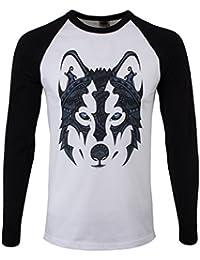 7539d6d1 Unorthodox Men's Patterned Wolf Long-Sleeve Baseball T-Shirt Black & White