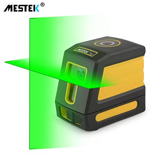 Kreuzlinienlaser Grüner Laser Selbstnivellierend MESTEK 30M mit Magnetische Stativ Halterung Drehbar Batterien Tragetasche für Wandhausdecken Staub- und Wasserdicht