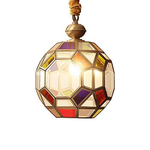 Oudan 50cm Kette verstellbare deckenleuchte Multi farbige Glas pendelleuchte 1 licht Mini hängende Lampe Kugel einzigen Kupfer Drop Beleuchtung für Villa esszimmer Veranda Outdoor/Indoor kronleuchte - Farbige Mini-glas