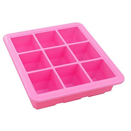 TOUFASI 9-Grid Silikon Eiswürfelschale Mit Deckel DIY Eiswürfelform Babynahrungsergänzungsmittel Box Küche Liefert (Farbe : Rosa)