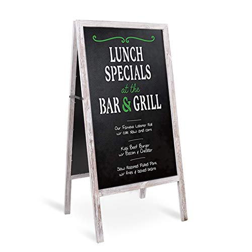 unho Aufsteller Kundenstopper Standtafel Werbetafel Kreidetafel beidseitg Werbeaufsteller klappbar aus Holz(50×100cm) - Grau