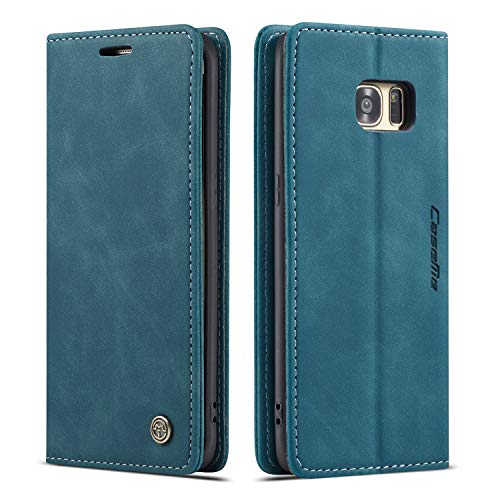 QLTYPRI Hülle für Samsung Galaxy S7 Edge, Vintage Dünne Handyhülle mit Kartenfach Geld Slot Ständer PU Ledertasche TPU Bumper Flip Schutzhülle Kompatibel mit Samsung Galaxy S7 Edge - Blau