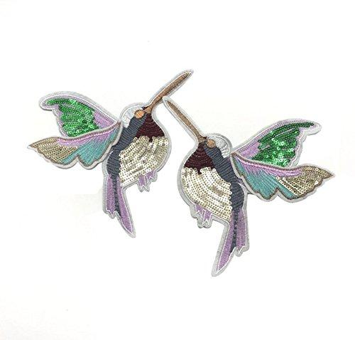 Toruiwa Patches Bestickte Aufnäher Vögel Glitzer Flicken Zum Aufbügeln Nähen Patch Sticker Applique Badge für Kleid Hut Schuhe Jeans DIY Kostüm Schmücken 1 Paar (A)