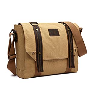 41KSkunyh L. SS300  - LOSMILE 16 Pulgadas Hombres Bolsos Bandolera Bolsa de Hombro Bolsa de Mensajero Bolso de Lona Bolsa de Ordenador Vintage Laptop Messenger Bag. (Marrón)