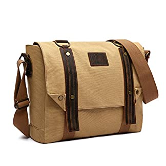 LOSMILE 16 Pulgadas Hombres Bolsos Bandolera Bolsa de Hombro Bolsa de Mensajero Bolso de Lona Bolsa de Ordenador Vintage Laptop Messenger Bag.