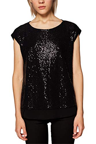 ESPRIT Collection Damen T-Shirt 118EO1F025, Schwarz (Black 001), Small