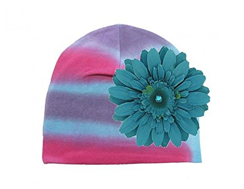 Blue Pink Purple Tie Dye Hat with Teal Daisy, Size: 0-18m (Tie-dye Baby Blue)