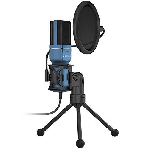 DJG USB Mic, SF-777 1.4M Computer Game Recording-Kondensatormikrofon mit Pop Filter & Stativ für Skype Youtuber Karaoke Gaming-Aufnahme (blau)