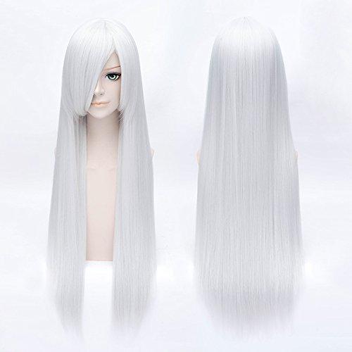HOOLAZA Silber Weiß Lange Gerade Mit Pony Perücke 80 Cm Inuyasha Sesshoumaru Suigintou Cosplay Perücke(EINWEG) - Weiße Lange Perücke Für Erwachsene