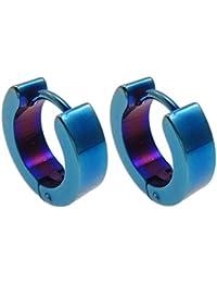 Anilla aro pendiente, acero inoxidable, para hombre, azul, 4mm, diámetro interior: aproximado 9mm