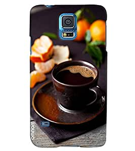 Omnam Black Tea In Black Cup And Plate With Black Effect Printed Designer Back Cover Case For Samsung Galaxy S5