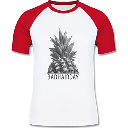Statement Shirts - Badhairday - Ananas - zweifarbiges Baseballshirt für Männer Weiß/Rot
