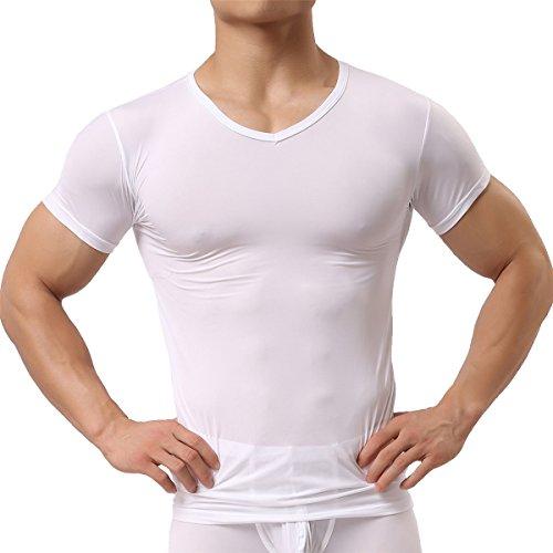 Herren Unterhemd aus Mesh Transparent Shirt Stretch T-shirt Unterwäsche Reizwäsche (L, White) (Mesh-stretch-unterhemd)