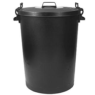 110L Black Plastic Bin Metal Handles Storage Bin Animal Feed Rubbish Indoor Outdoor