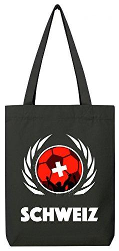 Swiss World Cup Fussball WM Fan Bio Baumwoll Tote Bag Jutebeutel Stanley Stella Fußball Schweiz Black
