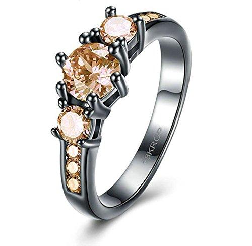 Epinki placcato oro donna anello rotondo zirconi giallo fede nuziale anello impostato taglia 12 accessori donna