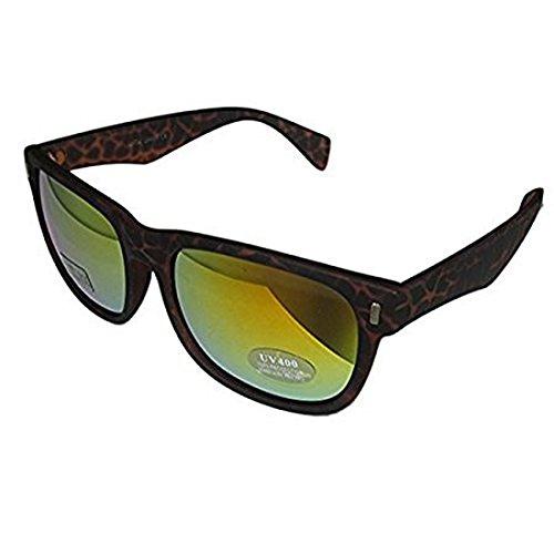 DP Design® Wayfarer Sonnenbrille Silber Spiegel Objektiv, Unisex DISCO Pacha Ibiza London braun Leopard -