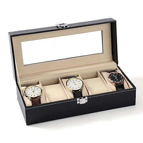Zichen 5 Grid Watch Schmuck Display Aufbewahrungsbox Fall Armband Veranstalter Display-Boxen mit Kissen Inhaber Kunstleder schwarz - Organisieren Sie Alle 5 Schublade