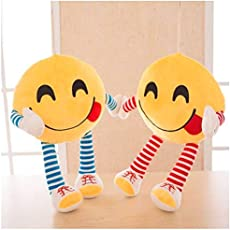 Frantic Premium Plush Feeling Hungry Decorative Smiley Pillow Cushions with Soft Hands and Legs Pack of 2