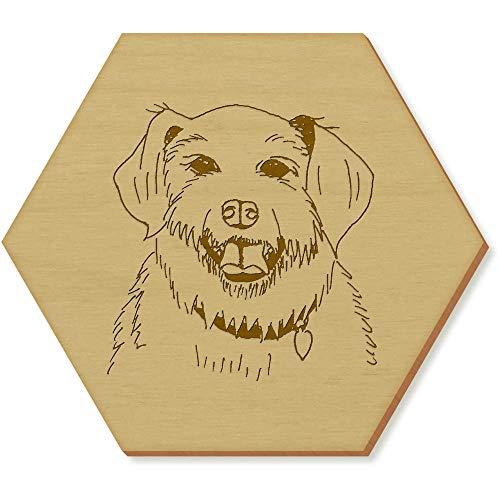 Azeeda 6 x 'Terrier Hund' Sechseck Hölzerne Untersetzer (CR00081588) -