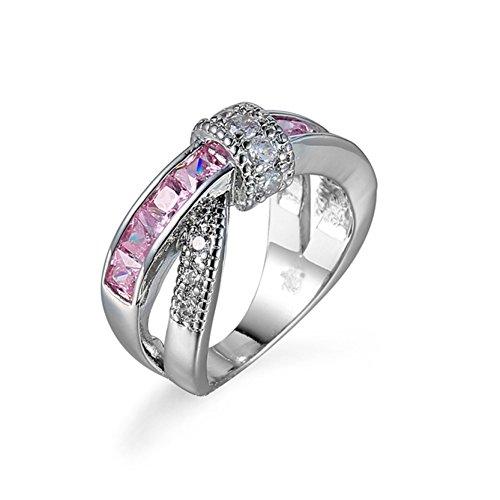 Frau Rosa Stein Ringe Kreuz Strass Eingebettet Ringe Erstellt Gem Verlobungs Ringe Größe (Diy Vampir Kostüme)