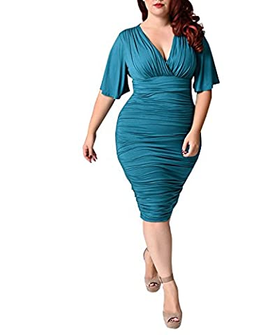 BIUBIU Women Plus Size Deep V neck Draped Bodycon Midi Dress Style #2 Turquoise UK 16