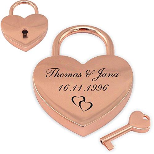 Sehr schönes Herz Liebesschloss rosa/gold mit Gravur nach Wunsch, wählen Sie aus Motiv und Schriftart frei aus.