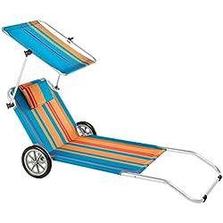 Ultranatura 200100001082 Nizza Chaise Longue de Plage avec Pare-soleil + Roues Bleu/Orange 146 x 64 x 92 cm