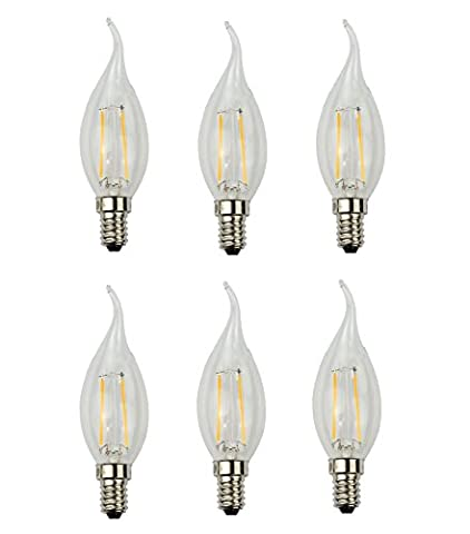 ADOGO 2W LED Filament Candle Light Bulb,E14 Candelabra Base Lamp,C35 Torpedo Shape Bullet Tip,20W Incandescent Replacement,2700K Warm White 200LM,Non-dimmable, 6 Pack [Energy Class A++]
