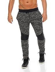 Herren Jogginghose Sporthose Trainingshose Joggpants Freizeithose Fitness Sweathose meliert Slim Fit