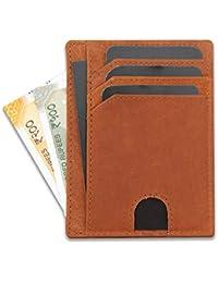 GoArtea®️ Mini Card Holder Wallet | Genuine Leather RFID Blocking Slim Minimalistic Design Wallet for Unisex in Gift Box