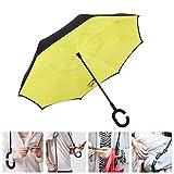 Casloyal Reversion Regenschirm, Innovative Schirme Double Layer Winddicht Regenschirm Freie Hand Taschenschirm Inverted Stockschirme mit C Griff für Reisen und Auto Outdoor di (Gelb)