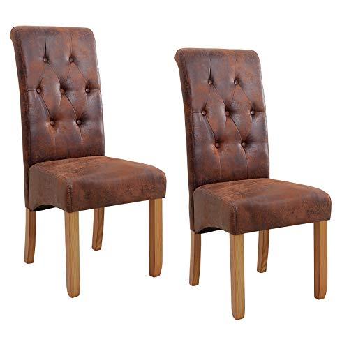 Invicta Interior 2er Set Edler Stuhl Valentino Vintage braun Kolonialstil mit Zierknöpfen Beine aus Massivholz Esszimmerstuhl