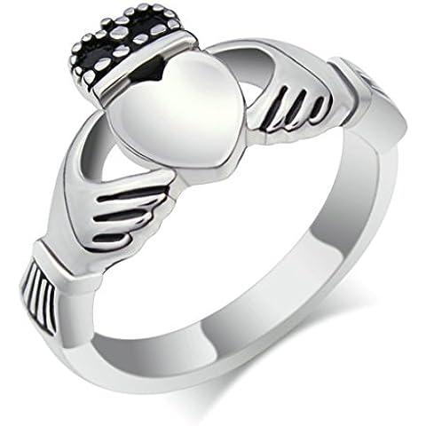 Alimab gioielli anelli cuore liscio donne Acciaio inossidabile banda nozze