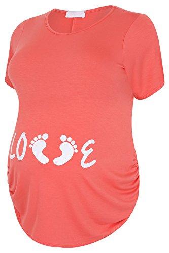 """Plus Taille Femme Bump it Up Maternité Corail Dessus Avec Imprimé Paillettes """"Love blanc Orange - Orange"""
