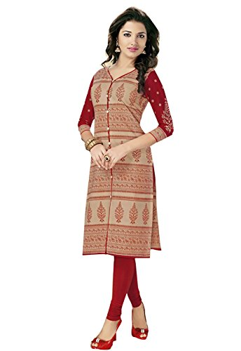Ishin Cotton Beige Printed Party Wear Casual Wear Festive Wear New Collection Latest Design Women Unstitched Kurti/Kurta Fabric (Only Kurta/Top Fabric).
