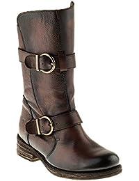 Felmini Zapatos Para Mujer - Enamorarse con King 8569 - Cowboy & Biker Botines - Cuero Genuine - Marrón - EU:38