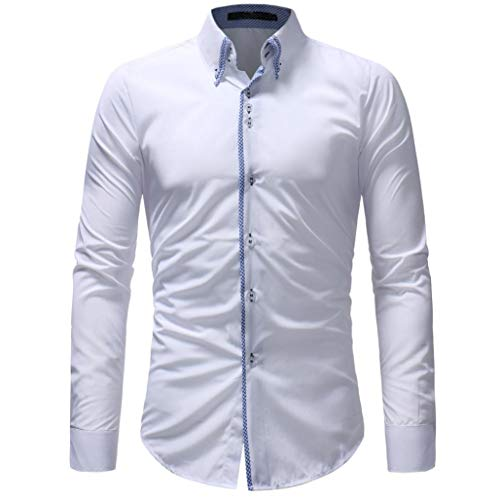 Luckycat Herren Herbst Casual Formale Slim Button Down Langarm Kleid Shirt Top Bluse Mode 2018