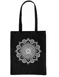 LaMAGLIERIA Bolsa de Tela Mandala White Print Man01 - Tote Bag Shopping Bag 100% algodón
