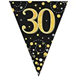 fashioncrazexx 30th Birthday Party Sparkling Bunting Black Gold Fizz Flag Banner Age 12FT 3.9m